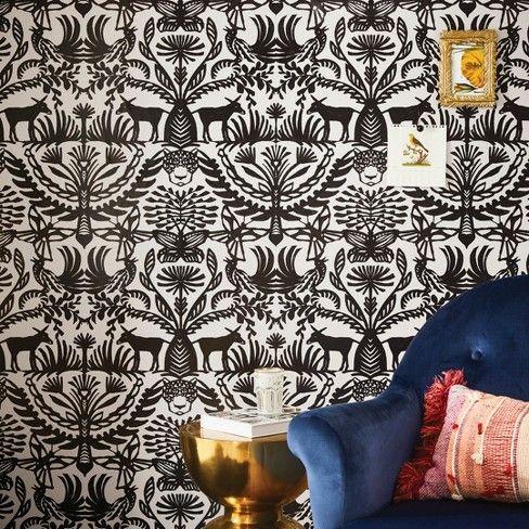 Eulalia Peel Stick Wallpaper White Black Opalhouse Removable Wallpaper Living Room Wallpaper Neutral Farmhouse Wallpaper
