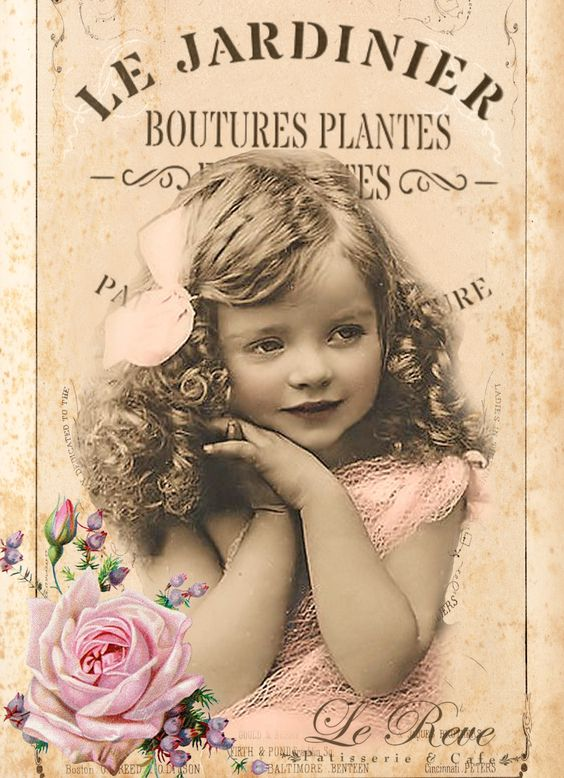 vintage girl digital collage p1022 free to use: