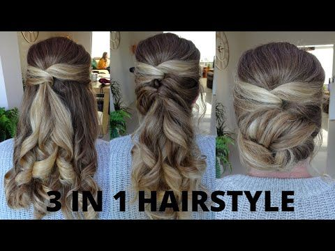 3 In 1 Hairstyles Half Up Half Down Curly Ponytail And Messy Bun Youtube In 2020 Down Curly Hairstyles Half Up Half Down Hair Prom Hair Styles
