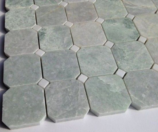 12x12 Ming Green Octagon Polished Marble Mosaic With White Marble Marble Mosaic Shower Floor Tile Green Granite