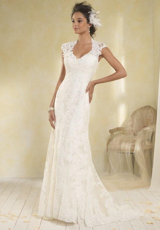 Style 8516 by Modern Vintage by Alfred Angelo. 2 piece gown in Charmeuse and lace accented at the shoulder with crystal studded abstract lace flowers. l TheKnot.com