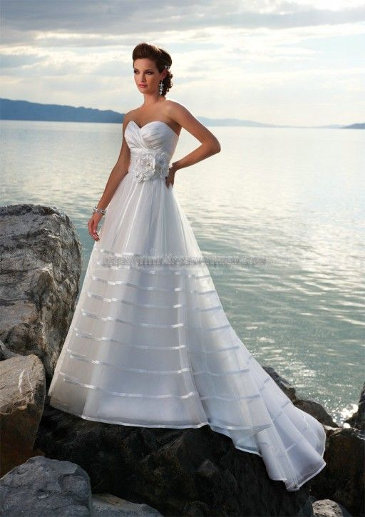 A-line Sweetheart Glamorous Style Organze Wedding Dresses with Flower Wedding Dresses