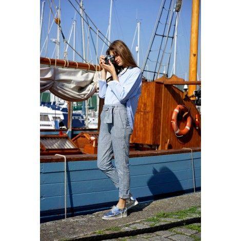 Comprar Pantalon largo gris denim lazo kimono marca Orfeo Paris