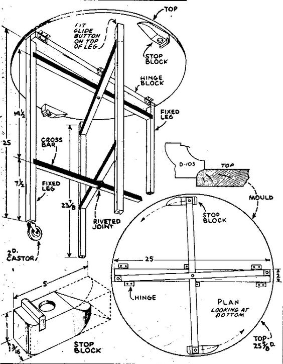 Plans, instructions to build small folding table.