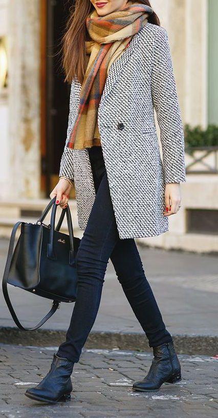 #winter #fashion / scarf + coat: