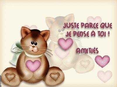 Juste parce que je pense à Toi ! Amitiés #jepenseatoi chats peluche coeurs amitie