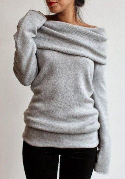 Elegant Gray Slash Collar Long Sleeve Pullover Knitwear For Women