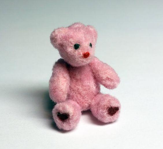 Pink Miniature Teddy Bear Handmade Dollhouse by SaraMadeCreations