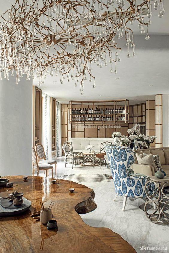 Unusual chandelier, eclectic elegance: