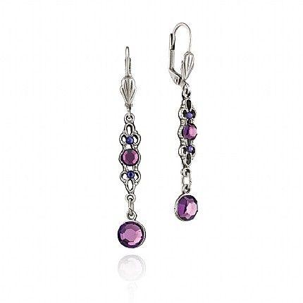 Buy Purple Ornate Drop Earrings from Pia Jewellery