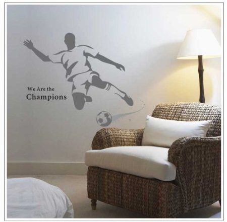 wall stickers -YYone We Are The Champions Quotation A Man Playing Football for Men or Boys Bedroom Wall Stickers Decor