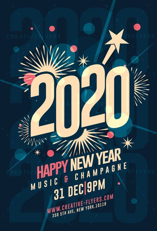 New Year Invitation Card Template Creative Flyers In 2020 New Year Card Photoshop Template Design Flyer
