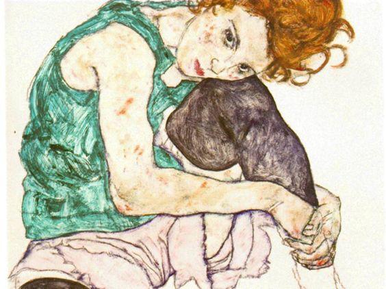 """Schiele - """"Mujer sentada con pierna izquierda levantada"""""""
