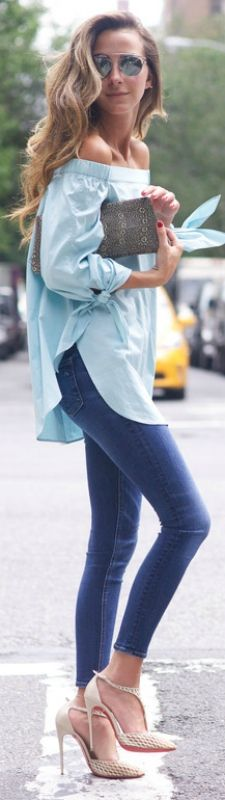 Blue off the shoulder shirt with skinnies and heels! Top: TIBI, Jeans: Rag & Bone, Shoes: Christian Louboutin