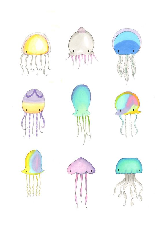 Jellyfish Illustrations  Super cute kawaii collection of 9 jellyfish, presented as a beautiful A3 sized fine art print.  Perfect for your nautical nursery.: