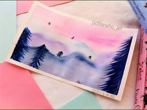 Suluboya Ile Kolay Manzara Cizimi Potterwho Art Youtube Sulu Boya Tuval Sanati Cizim