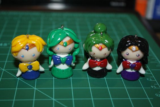 Chibi Sailor Warriors Inspired by anime Sailor Moon Polymer Clay Kawaii Charms by NGKawaiiCrafts Sailor Uranus, Sailor Neptune, Sailor Pluto, Sailor Saturn