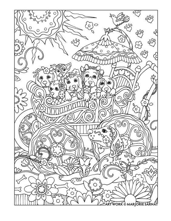 "Creative Haven Dazzling Dogs Coloring Book by Marjorie Sarnat, ""Pups in a Pram"":"