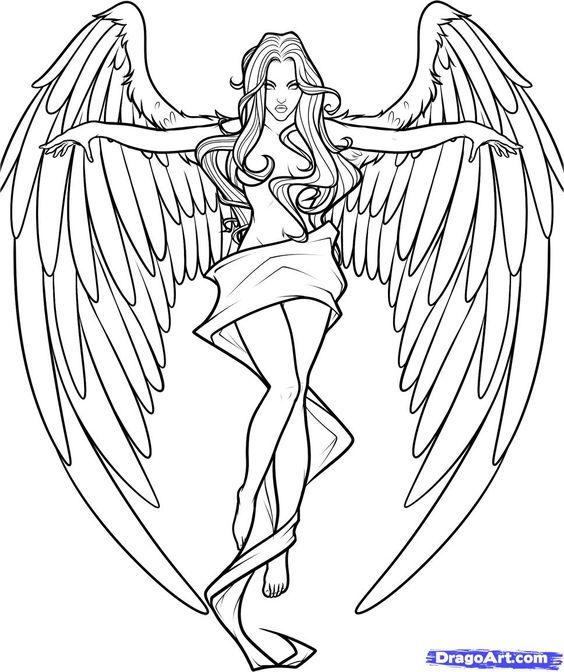 gothic angel coloring Hledat Googlem a Pinterest