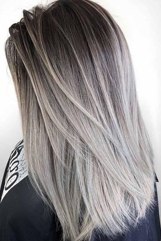 Inspiring Medium Length Haircut For Straight Hair Silver Hair Color Silver Ombre Hair Silver Blonde