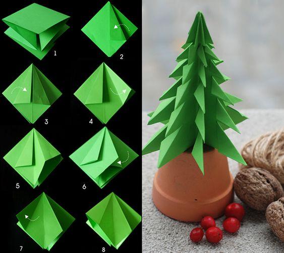anleitung zum tannenbaum falten aus papier diy origami. Black Bedroom Furniture Sets. Home Design Ideas