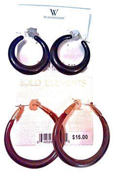 Worthington Gift Pack Earring Set Bold Black Hoop & Brown Swirl Hoop MSRP$27