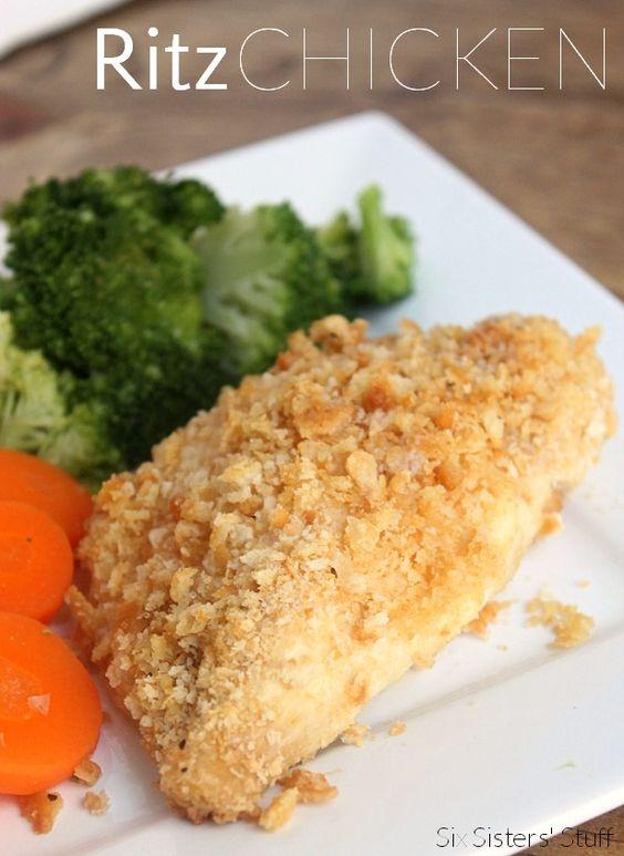 6 Ingredient Ritz Chicken! Super easy dinner to put together! SixSistersStuff.com