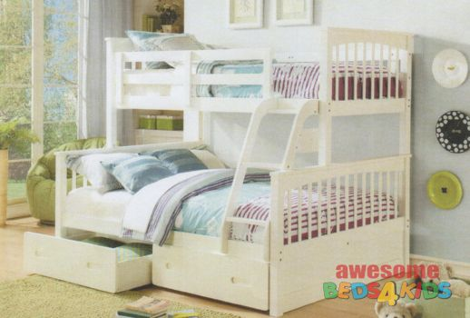 2 Brighton Single Over Double Bunk Bed Bunk Beds Double Bunk Beds White Bunk Beds
