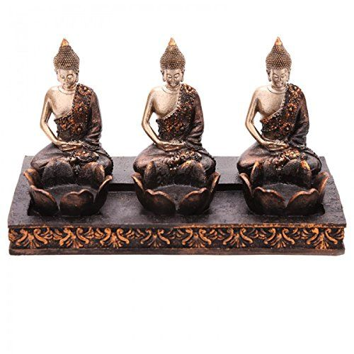 statua statuina trio buddha thailanese portacandela porta candela