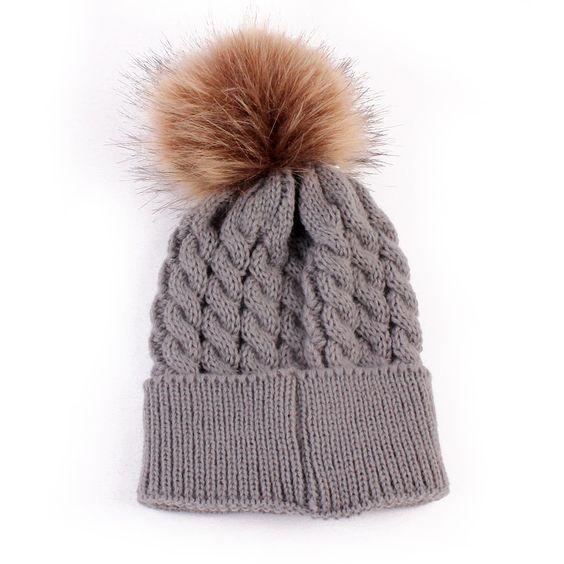 2016 Warm Baby Hat Fur Ball Hat Child Children's Winter Hats For Girl Boys Winter Caps All For Children's Clothing