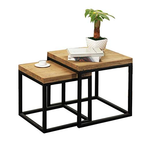 Home Warehouse Retro Wood Side Table Industry Iron Art