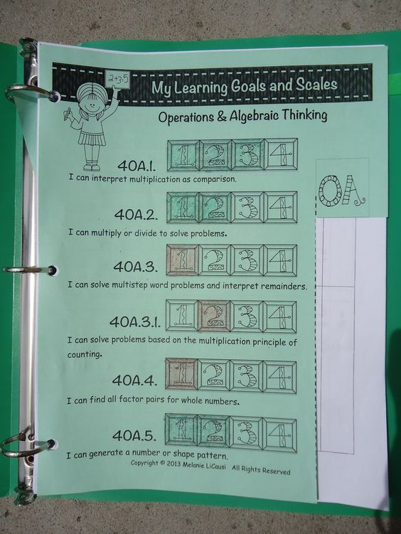 Track Marzano Scales with Student Portfolios - Mrs. L's Leveled Learning: