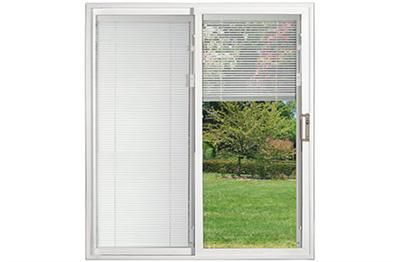 sliding patio doors with built in mini blinds stone