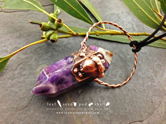 These amethyst double points are just spectacular. The colours are so amazing!!!  In Store now, link in bio.  #leafseedpodshell #leafseedpodshelljewelry #birdhouse #leaves #leaf #acorn #acorns #seeds #pods #shells #copper #electroform #electroforming #electroformed #electroplated #electroplating #crystal #crystals #rustic #plating #jewelry #jewellery #pendant #pendants #handmade #handmadejewelry