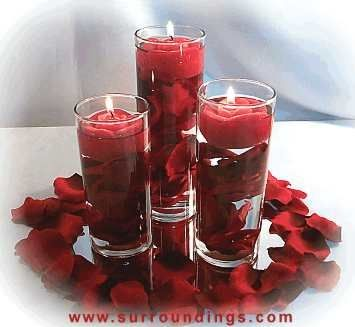 Ashlie Oestreich Evans Rose Petals Amp Floating Candles Centerpiece With Real Rose Petals In Vase