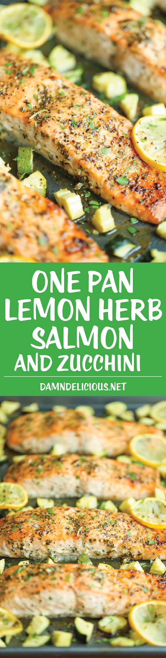 One Pan Lemon Herb Salmon and Zucchini - Quick, easy, and all made on a single pan. And the salmon is packed with so much flavor. It doesn't get any easier!