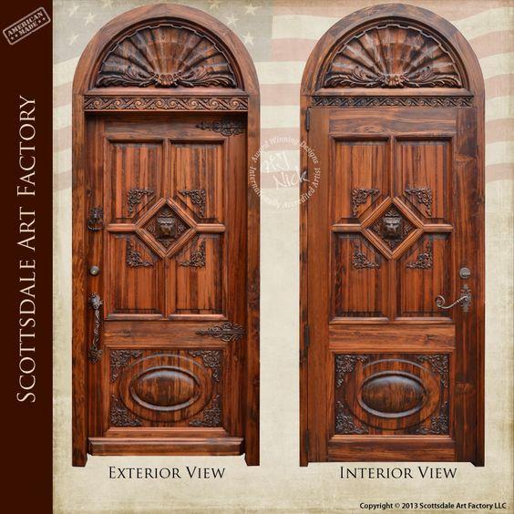 Hand carved custom wood door exterior wood doors hand for Hand carved wood doors