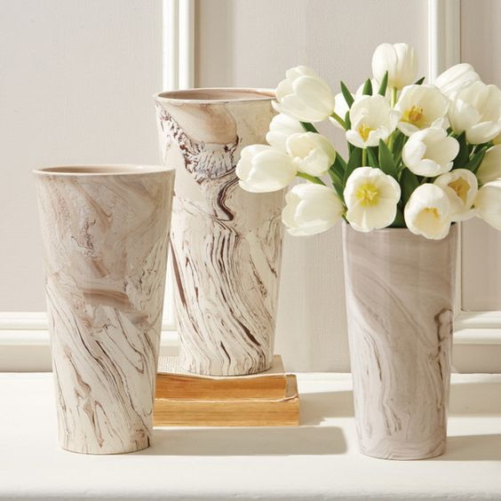 Set of 3 Tapered Marbleized Vases design by Tozai featuring polyvore, home, home decor, vases, set of three vases, tozai, set of 3 vases and brown vase