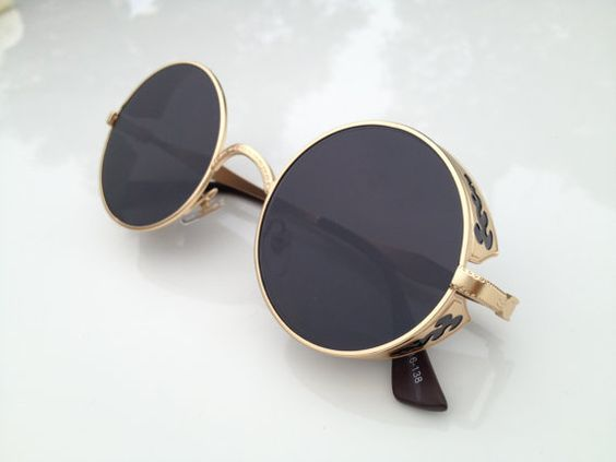 Black Fashion Retro Sunglasses Eyewear - Vintage Round Aviator Handmade Mens Womens Sunglasses Goggles:
