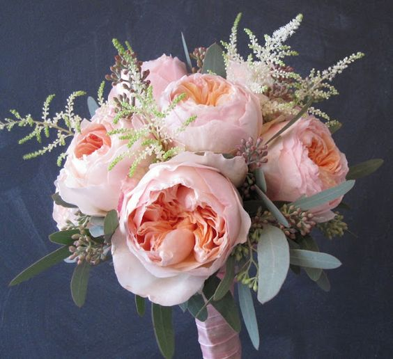 Bridal bouquet of juliet garden roses white astilbe seeded eucalyptus if i could do it - Garden rose bouquet ...