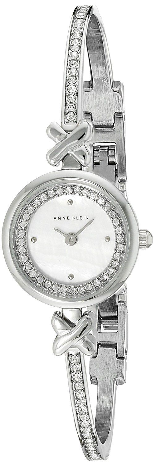 Anne Klein Women's AK/1689MPSV Swarovski Crystal-Accented Silver-Tone Bangle Watch *** Details can be found by clicking on the image.
