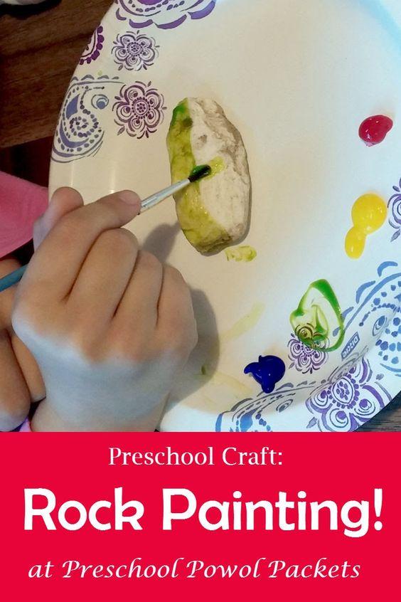 Fine Motor Skills, Process art, outdoor fun, and more!  Super simple Preschool Craft: Rock Painting! | Preschool Powol Packets