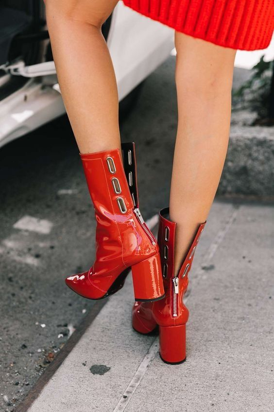 Ankle boots | Red boots | Block heels | Inspiration | More