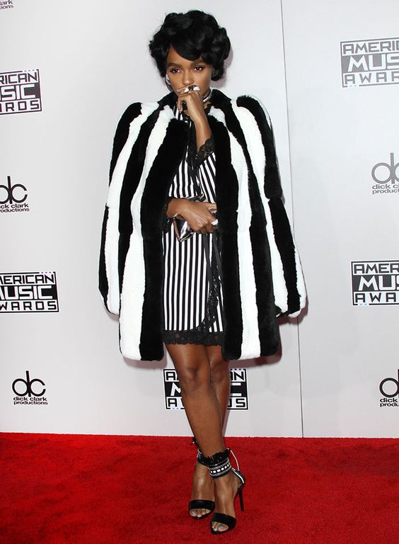 Janelle Monae in Marc Jacobs coat and dress