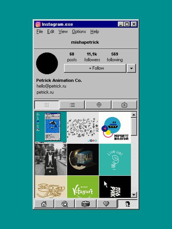 O artista baseado em Moscou, Misha Petrick, resolveu imaginar como seria o Instagram se ele fosse rodado usando o Windows 95. Esse é o resultado:    |via