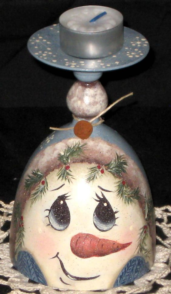 Handpainted vintage wine glass with snowman face: