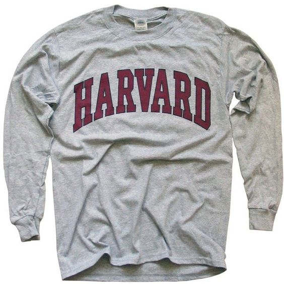 Harvard University T-Shirt, Officially Licensed Long-Sleeve College... (£17) ❤ liked on Polyvore featuring tops, t-shirts, gray tee, long sleeve tee, long sleeve tops, gray top and grey tee
