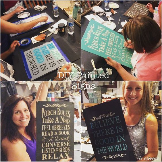 "denise@el&em... on Instagram: ""Fabulous DIYer's in the studio today. #DIY #sign #workshop @elandem1942 #studios #fun #create #paint #stencil #DixieBellePaint #muddaritaville #handmade is #best #porchrules #BeTheGood"":"