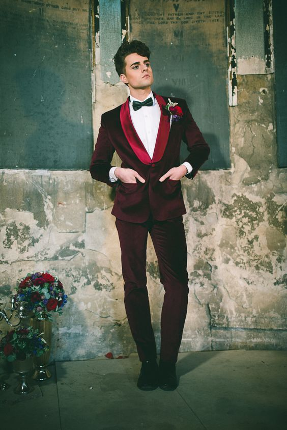 Red velvet wedding suit for the groom - a unique take on the