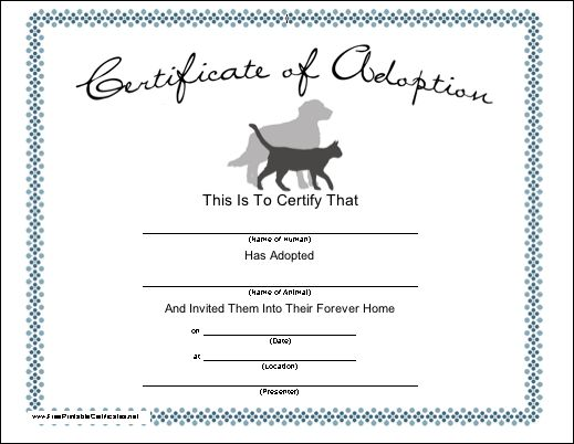 Blank Adoption Certificate For A Adopt A Puppy Birthday Party Fill